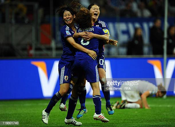 Homare Sawa of Japan celebrates after scoring his teams second goal during the FIFA Women's World Cup Final match between Japan and USA at the FIFA...