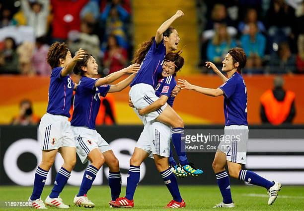 Homare Sawa of Japan celebrates her goal against Sweden with Nahomi Kawasumi Yukari Kinga Aya Miyama and Aya Sameshima during the FIFA Women's World...