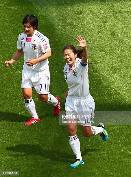 Homare Sawa of Japan celebrates her goal during the FIFA Women's World Cup 2011 Group B match between Japan and Mexico at the BayArena on July 1 2011...