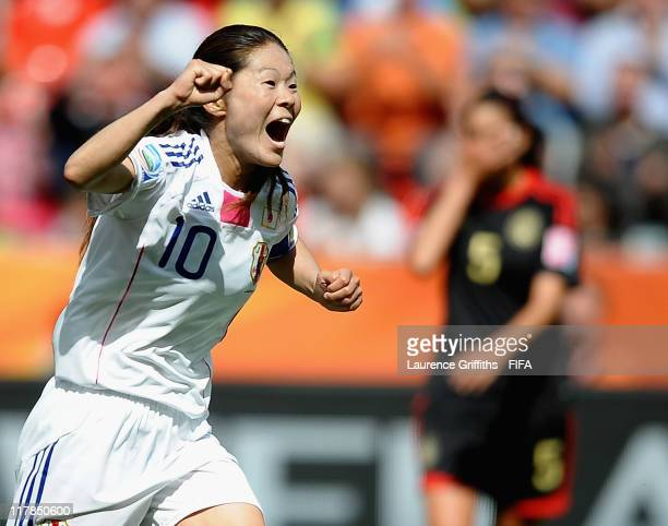 Homare Sawa of Japan celebrates scoring the fourth goal during the FIFA Women's World Cup 2011 Group B match between Japan and Mexico at the Bay...
