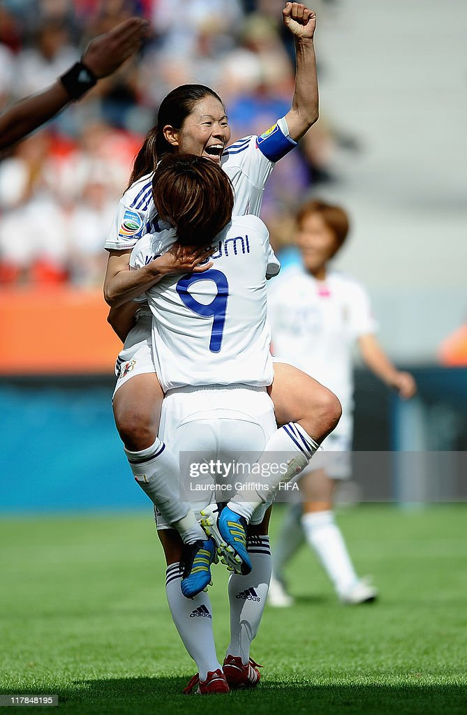 Homare Sawa of Japan celebrates scoring the fourth goal with Nahomi Kawasumi during the FIFA Women's World Cup 2011 Group B match between Japan and Mexico at the Bay Arena on July 1, 2011 in Leverkusen, Germany.