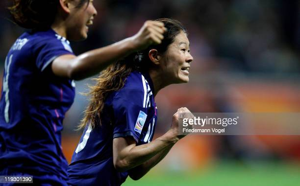 Homare Sawa of Japan celebrates scoring the second goal during the FIFA Women's World Cup Final match between Japan and USA at the FIFA World Cup...
