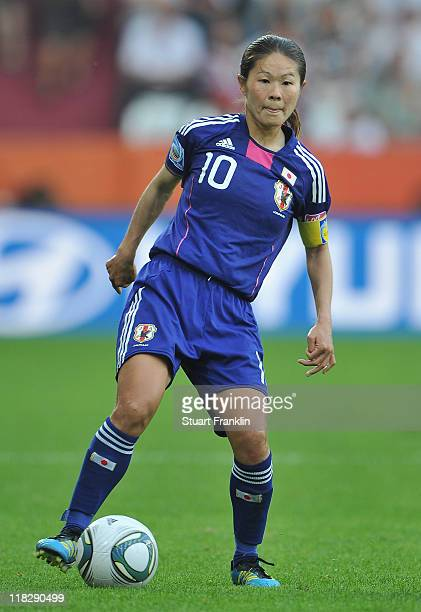 Homare Sawa of Japan in action during the FIFA Women's World Cup 2011 group B match between England and Japan at the FIFA World Cup stadiumon July 5...