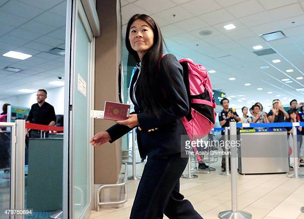 Homare Sawa of Japan is seen on departure at Vancouver International Airport on July 6, 2015 in Vancouver, Canada.