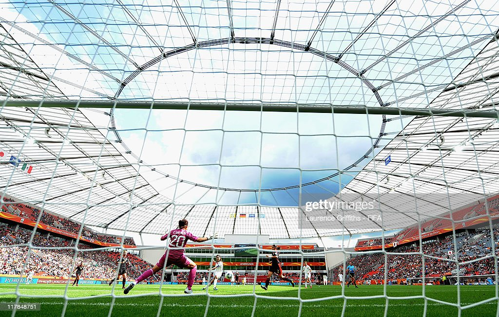 Homare Sawa of Japan scores the fourth goal during the FIFA Women's World Cup 2011 Group B match between Japan and Mexico at the Bay Arena on July 1, 2011 in Leverkusen, Germany.