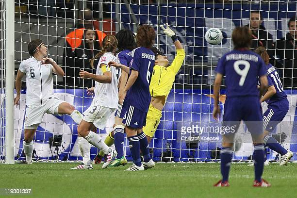 Homare Sawa of Japan scores the second goal against the USA during the FIFA Women's World Cup Final match between Japan and USA at the FIFA World Cup...