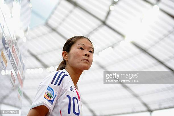 Homare Sawa of Japan speaks to the media after scoring a hat trick during the FIFA Women's World Cup 2011 Group B match between Japan and Mexico at...