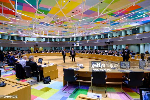 Home Affairs Ministers attend a meeting of an EU interior ministers at the European Council building on March 13in Brussels Belgium Home affairs...