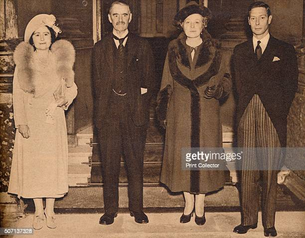 Home Again the King the Queen with Mr and Mrs Chamberlain' A photo of Neville Chamberlain his wife Anne de Vere Chamberlain King George VI and Queen...