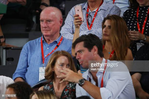 Home and Away actors Ray Meagher and Ada Nicodemou watch the Men's singles final match between Roger Federer of Switzerland and Marin Cilic of...