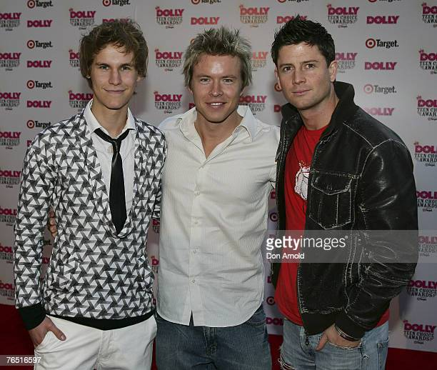 Home and Away stars including Rhys Wakefield and Paul O'Brien arrive at the Dolly Teen Choice Awards at Luna Park on September 5 2007 in...