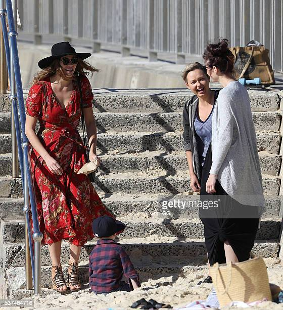 Home and Away's Demi Harman enjoys a day at the beach with her nephews and friends on May 27 2016 in Sydney Australia