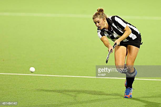 Home and Away's Jessica Grace Smith shows her formidable sporting prowess on the hockey field on June 29 2014 in Sydney Australia