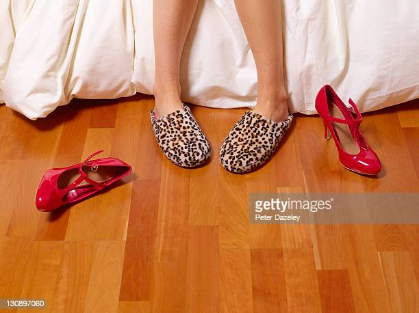 home and work shoes off - slipper stock pictures, royalty-free photos & images