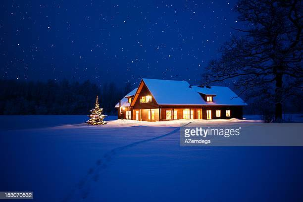 home at christmas - illuminate stock photos and pictures