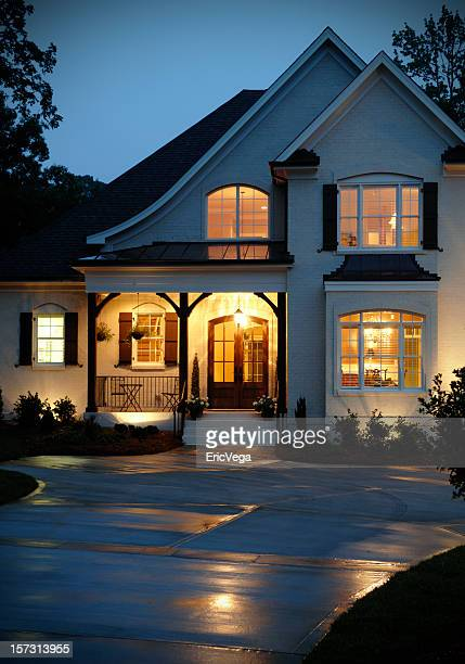home at night - house exterior stock pictures, royalty-free photos & images