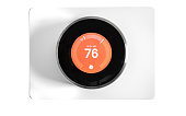 Home Automation:  Round Digital thermostat on white background