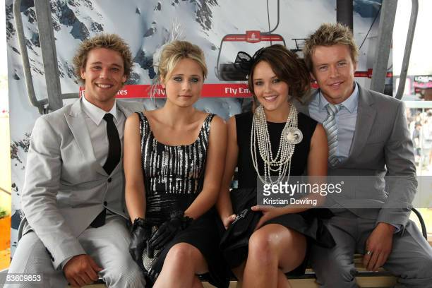 Home Away actors Lincoln Lewis Tessa James Rebecca Breeds and Todd Lasance pose together in the Emirates Marquee on Emirates Stakes Day as part of...