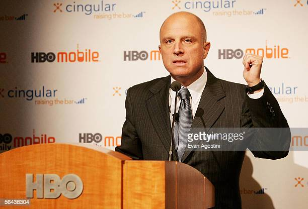 Home Box Office Chairman & CEO Chris Albrecht speaks at the Cingular Wireless 'Cingular Video' launch and HBO's content partnership announcement at...
