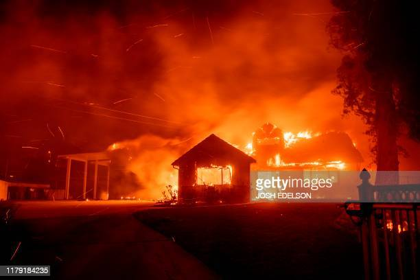 A home burns during the Hillside fire in the North Park neighborhood of San Bernardino California on October 31 2019