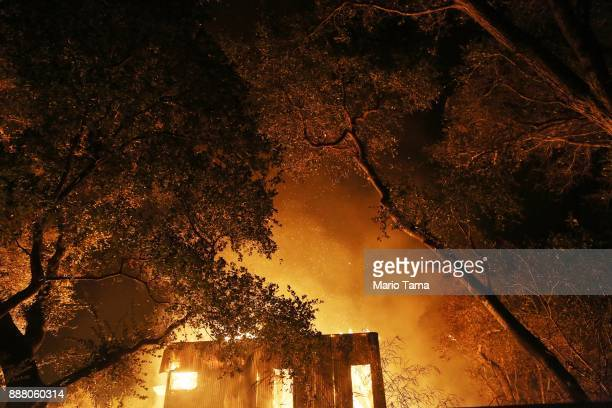 A home burns during the Thomas Fire on December 7 2017 in Ojai California The fire has destroyed 439 structures and burned 115000 acres