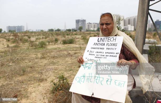 Home buyers of Unitech Anthea floors hold a protest at the project site in sector 70 on July 1 2018 in Gurugram India