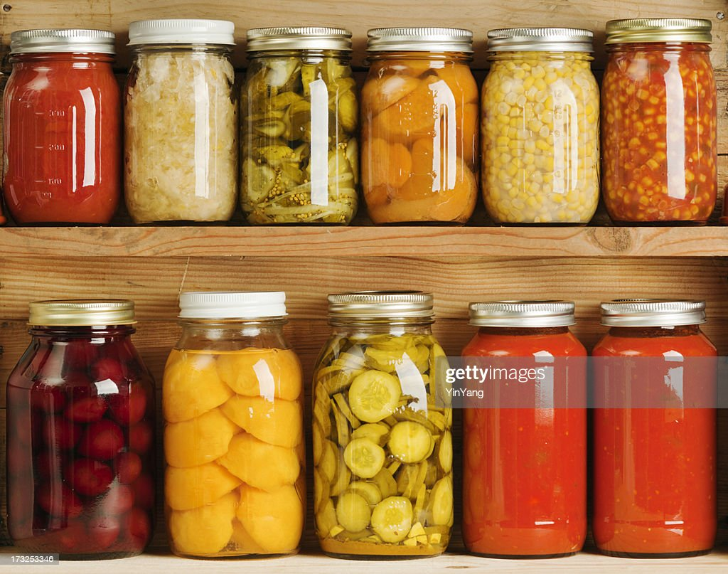 Home Canning of Summer Vegetables on Wooden Shelves Hz : Stock Photo