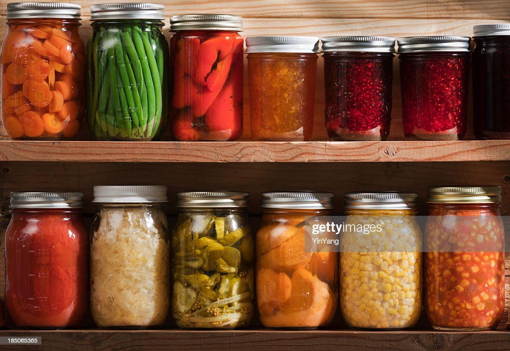 Home Canning, Preserving, Pickling Food Stored on Wooden Storage Shelves : Stock Photo
