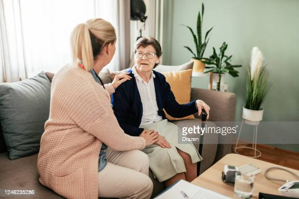 home care is good for mental health of the patients - emotional support stock pictures, royalty-free photos & images