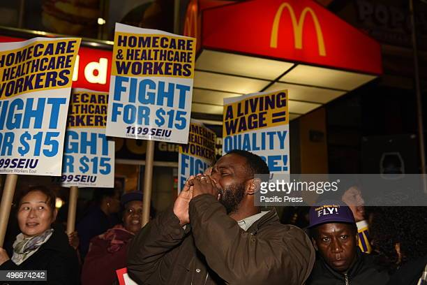 Home care workers rally in front of downtown Brooklyn McDonald's Fight for Fifteen's national day of action began with a walkout of fast food...