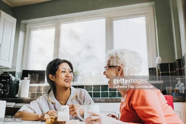 a home carer sits at a kitchen table with an elderly woman, drinking tea and laughing together - suit stock pictures, royalty-free photos & images