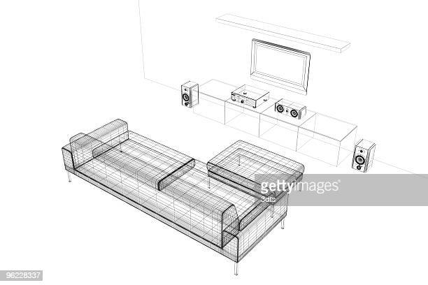 Home cinema (wire-frame, on white)