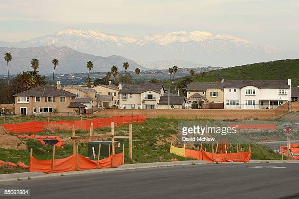 A home construction site stands idled February 24 2009 near Riverside California US single family homes prices continued to plummet for the second...