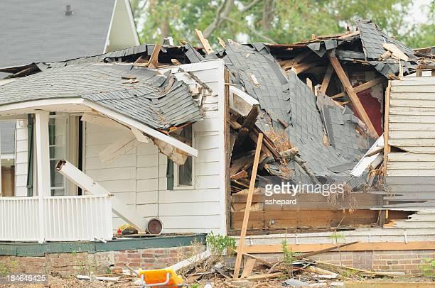 home damged by tornado - ruined stock pictures, royalty-free photos & images