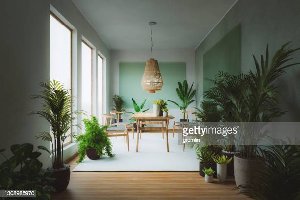 home dining room with lots of plants - abundance stock pictures, royalty-free photos & images