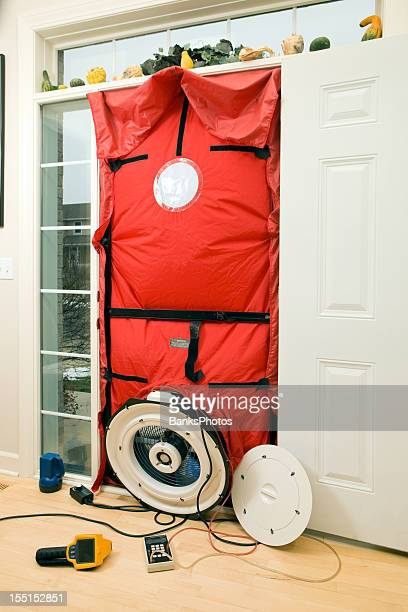 home energy audit blower door and test equipment - test stock pictures, royalty-free photos & images
