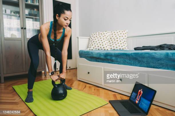 home exercise - hand weight stock pictures, royalty-free photos & images