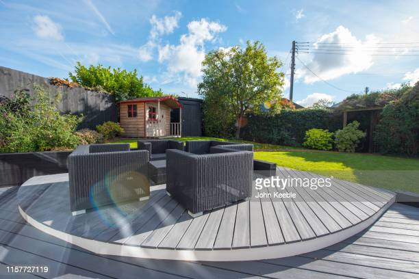 home exteriors - garden decking stock pictures, royalty-free photos & images