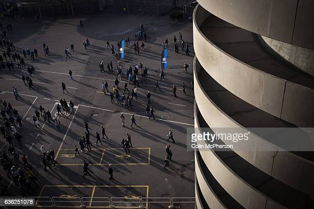 Home fans leaving the stadium at the Stadio Giuseppe Meazza also known as the San Siro after Internationale took on Cagliari in an Italian Serie A...