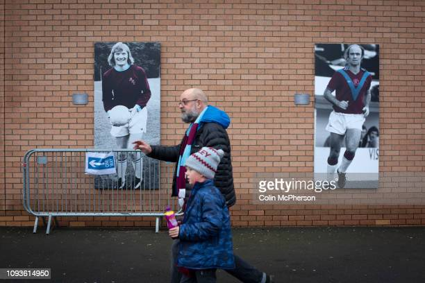 Home fans making their way towards the stadium before Burnley hosted Everton in an English Premier League fixture at Turf Moor. Founded in 1882,...