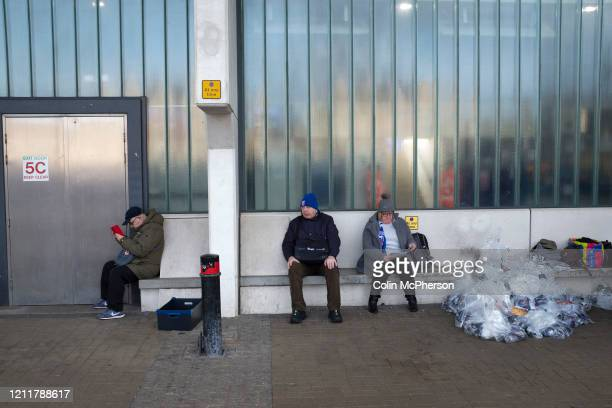 Home fans waiting outside the stadium before Ipswich Town play Oxford United in a SkyBet League One fixture at Portman Road Both teams were in...