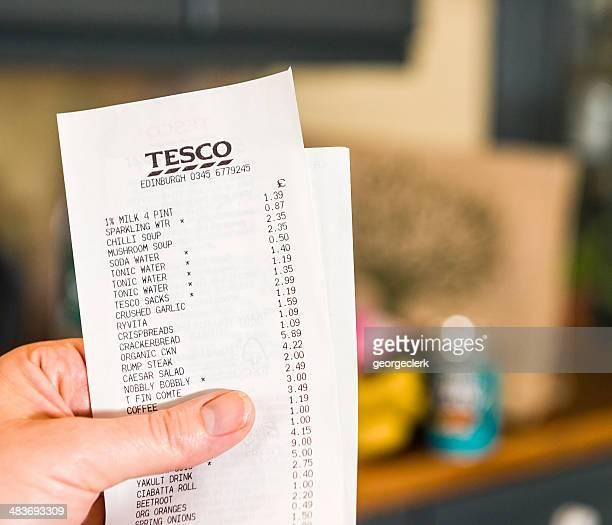 Home Finances - Tesco Supermarket Receipt