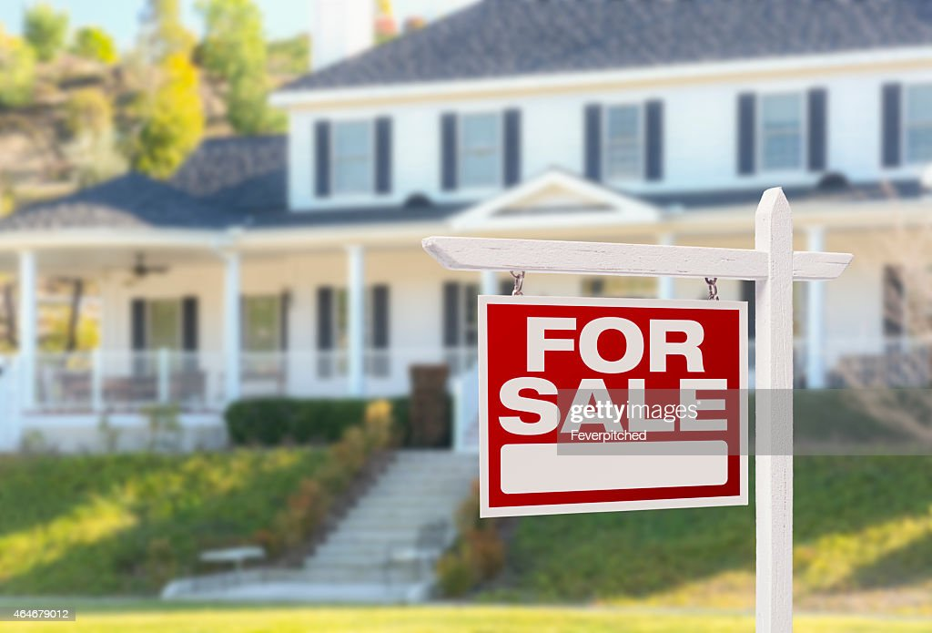 Home For Sale Sign in Front of New House : Stock Photo