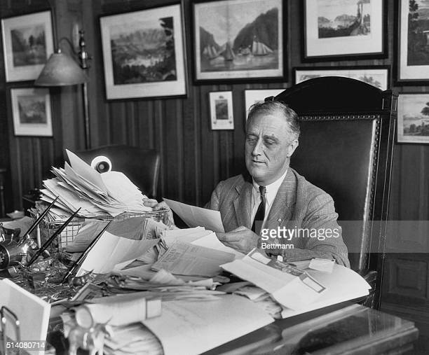 Home from his trip to Chicago where he addressed the delegates who selected him as Democratic Presidential nominee, Governor Franklin D. Roosevelt,...