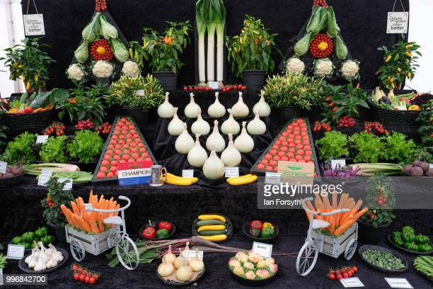 Home grown fruit and vegetables are displayed during the 160th Great Yorkshire Show on July 10 2018 in Harrogate England First held in 1838 the show...