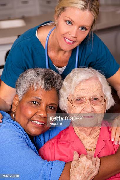 Home healthcare nurse visits her senior adult patients. House call.