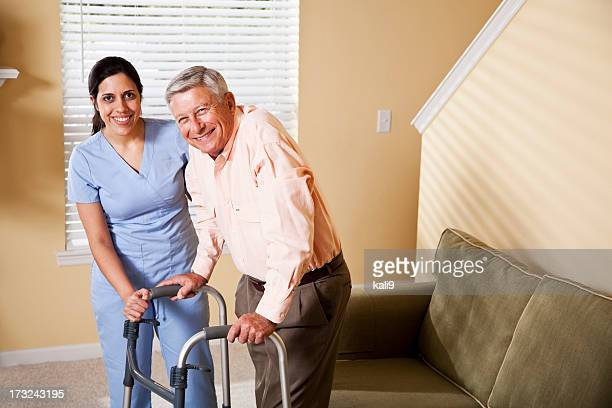 Home healthcare worker with senior patient