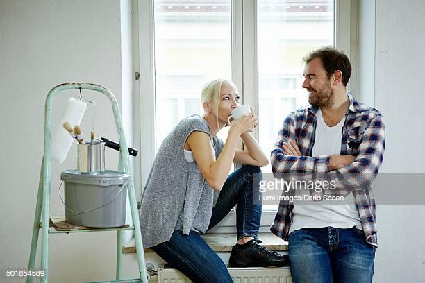 Home improvement, couple taking a coffee break, Munich, Bavaria, Germany