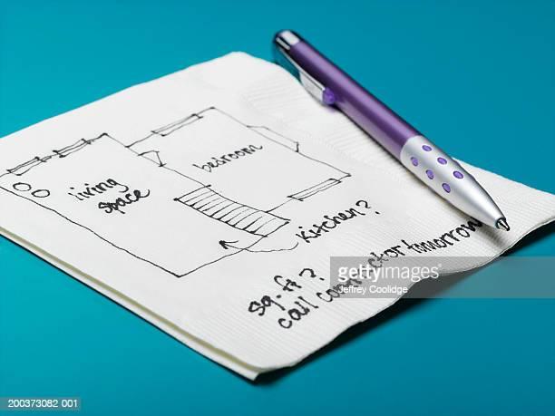 Home improvement design drawn on napkin, close-up