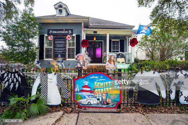 """Home in Lakeview is decorated with a """"Schitt's Creek"""" theme on February 15, 2021 in New Orleans, Louisiana. Due to the COVID-19 pandemic cancelling..."""
